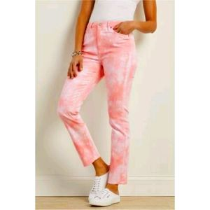 Abercrombie & Fitch Pink Tie-Dye Cropped Jeans